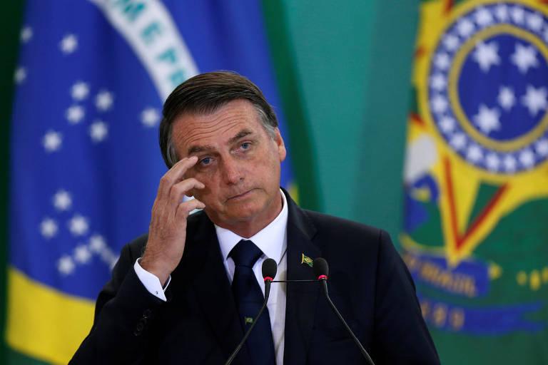 O presidente Jair Bolsonaro em cerimônia no Palácio do Planalto nesta segunda (7)
