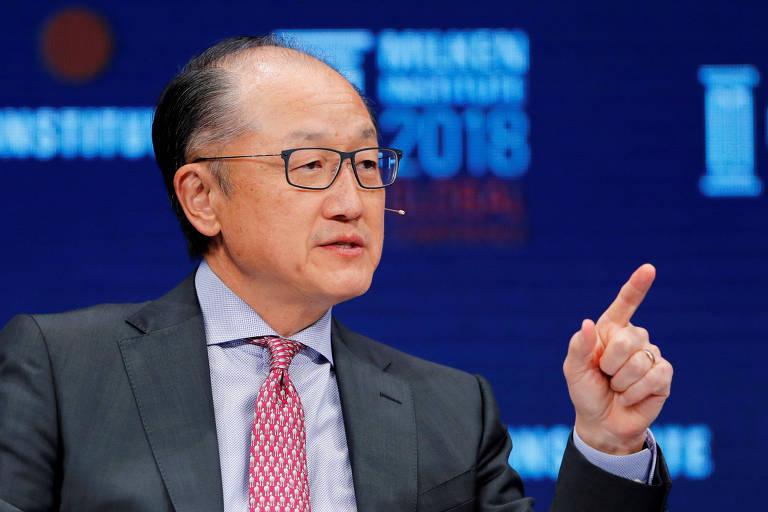 Jim Yong Kim, presidente do Banco Mundial, em conferência na Califórnia