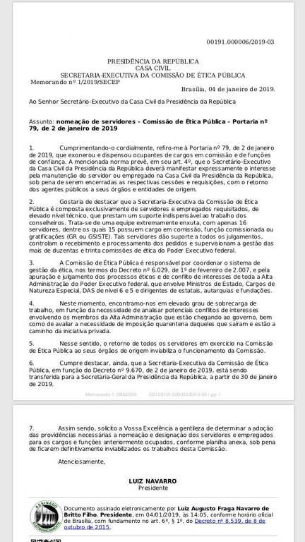 Documento encaminhado ao ministro da Casa Civil, Onyx Lorenzoni, pela Comissão de Ética da Presidência reclama da exoneração de funcionários