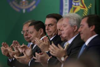Jair Bolsonaro na posse dos presidentes dos bancos públicos