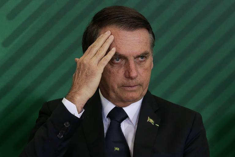 O presidente Jair Bolsonaro durante solenidade de posse dos novos presidentes do Banco do Brasil, da Caixa e do BNDES