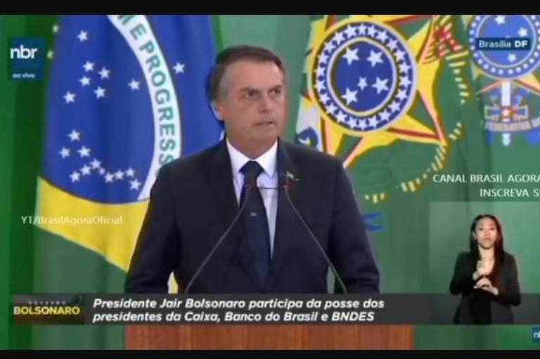 Tuíte de Bolsonaro reproduz transmissão de discurso do presidente pela NBR com logomarca do governo