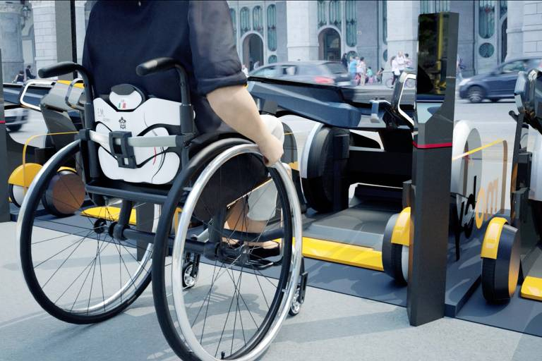 Projeto Moby, desenvolvido pela Italdesign, da Itália; o cadeirante pode usar um veículo compartilhado