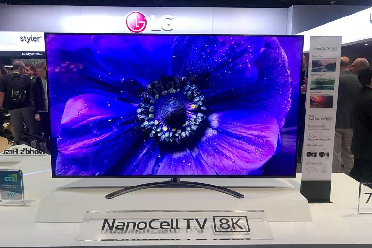TV com resolução 8K exibida pela LG na feira de tecnologia CES, em Las Vegas