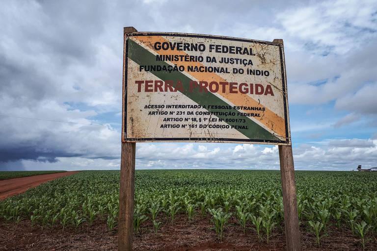 Placa da terra indígena Uirapuru, em Mato Grosso, com pés de milho ao fundo