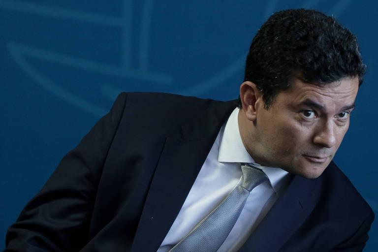 O ministro Sergio Moro durante cerimônia na qual assumiu oficialmente a pasta da Justiça e Segurança Pública