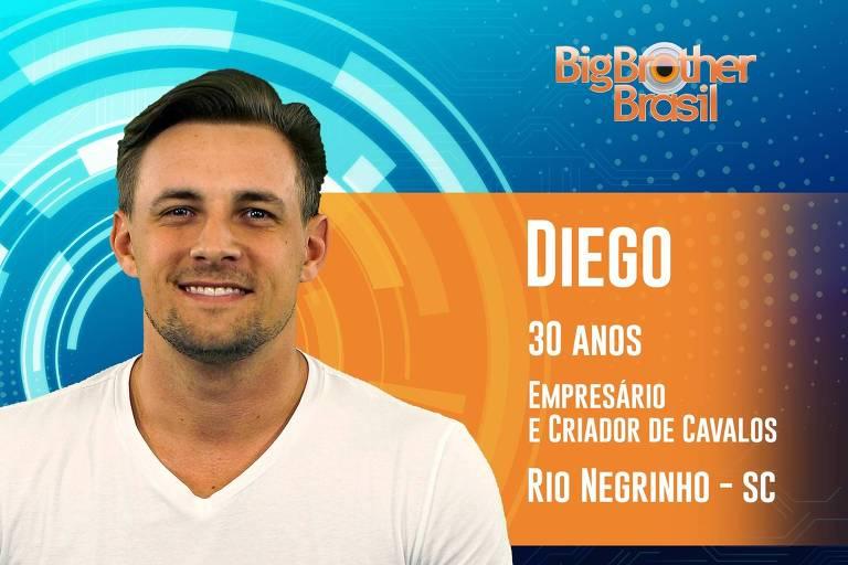 Diego é Empresário de 30 anos é criador de cavalos e campeão brasileiro de Laço Comprido, entra solteiro, mas estava 'conhecendo uma pessoa'
