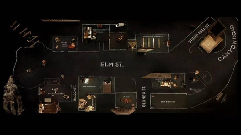 Vista aérea do vilarejo do filme