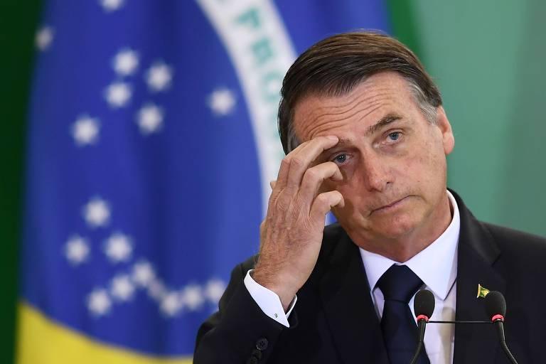 O presidente da República, Jair Bolsonaro, durante cerimônia no Palácio do Planalto, em Brasília