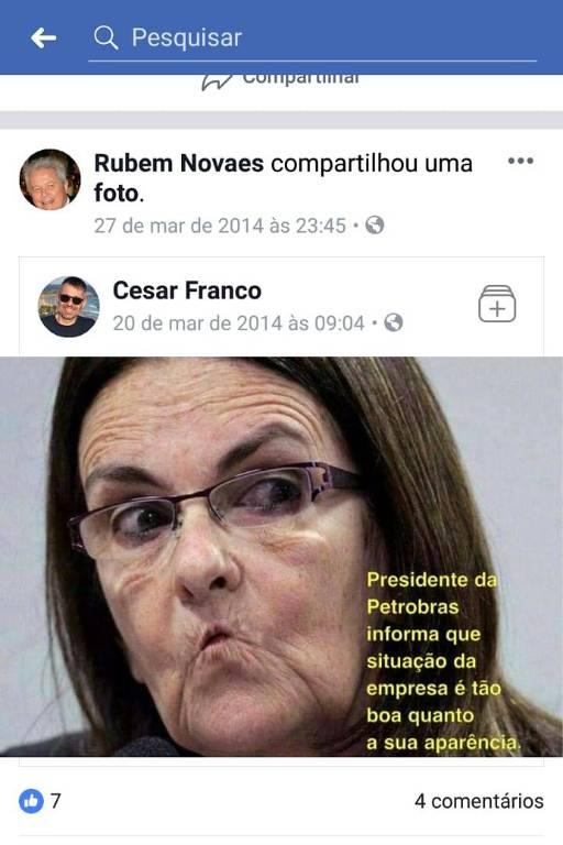 Post do novo presidente do Banco do Brasil, Rubem Novaes, no Facebook