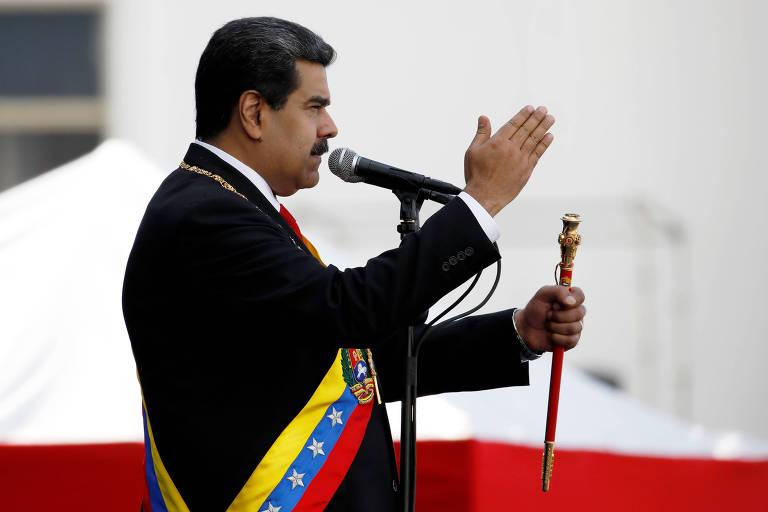 O presidente Nicolas Maduro discursa durante cerimônia de posse do seu segundo mandato