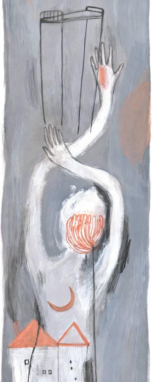 pintura em cinza, vermelho e branco
