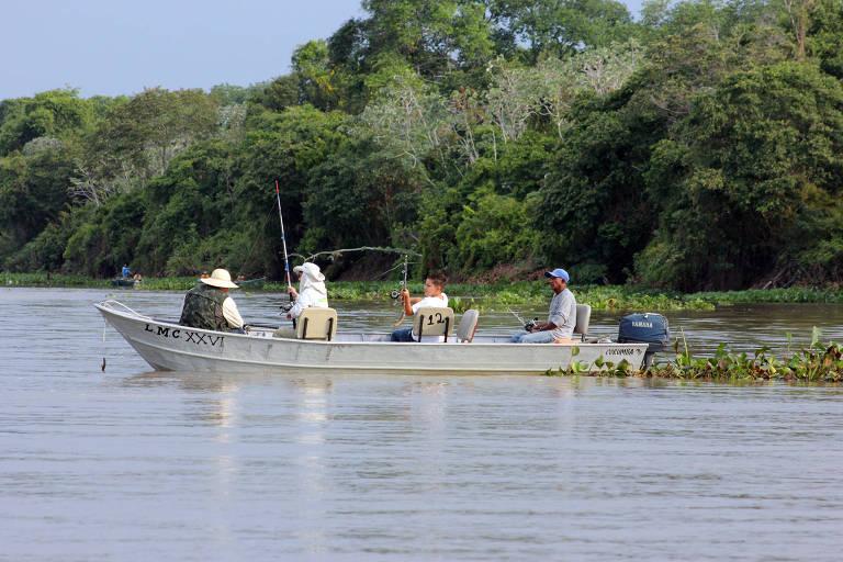 Pescadores no rio Paraguai, em Corumbá, em Mato Grosso do Sul