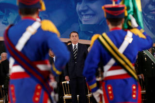 Brazil's President Jair Bolsonaro attends a swearing-in ceremony for the country's new army commander in Brasilia