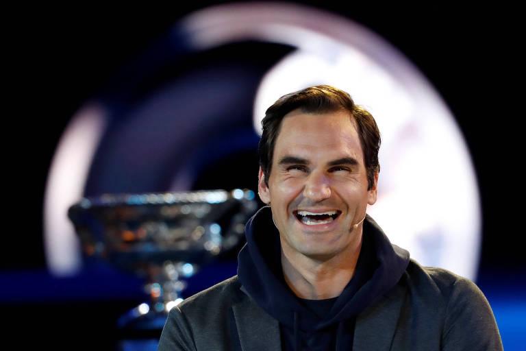 Roger Federer, atual campeão do Australian Open, durante evento antes da edição 2019 do torneio