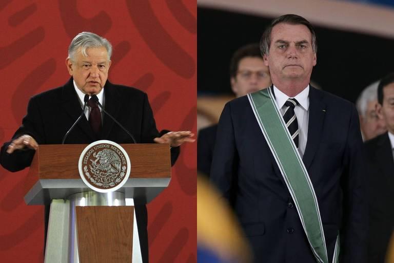 Montagem com as fotos dos presidentes Andrés Manuel López Obrador (à esq.), do México, e Jair Bolsonaro, do Brasil