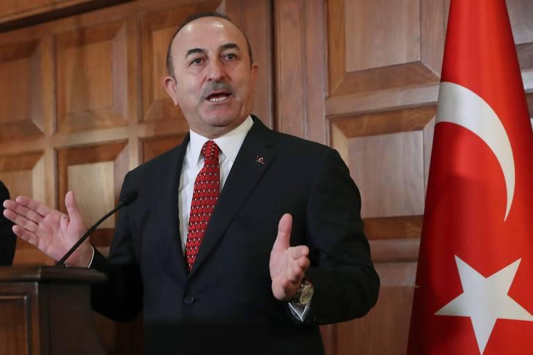 O chanceler turco Mevlut Cavusoglu em Ancara