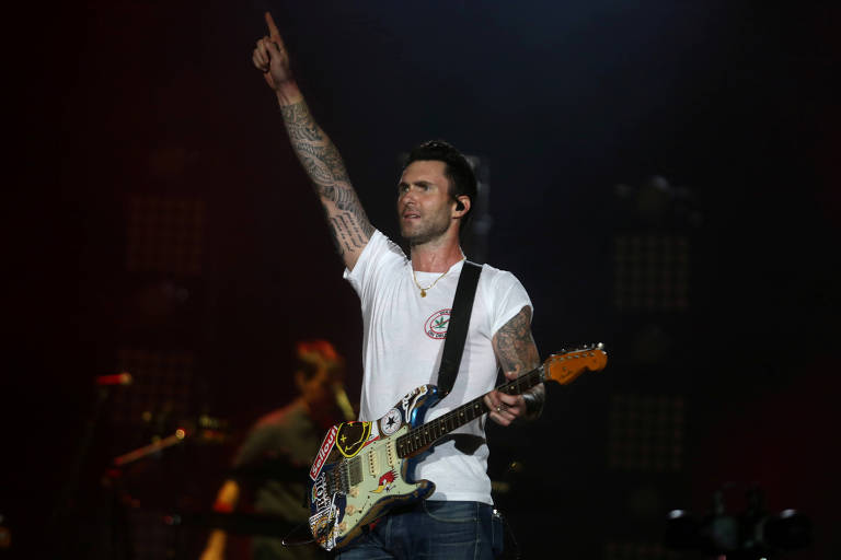 Adam Levine, do Maroon 5, durante show no Rock in Rio