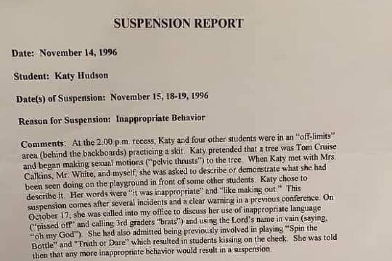 Documento mostra suspensão de Katy Perry na escola após comportamento inadequado