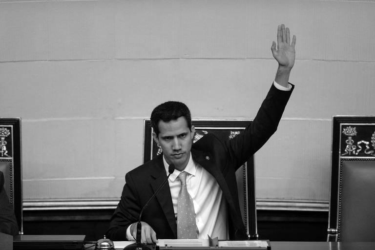 O presidente da Assembleia Nacional venezuelana, Juan Guaidó, durante sessão na casa