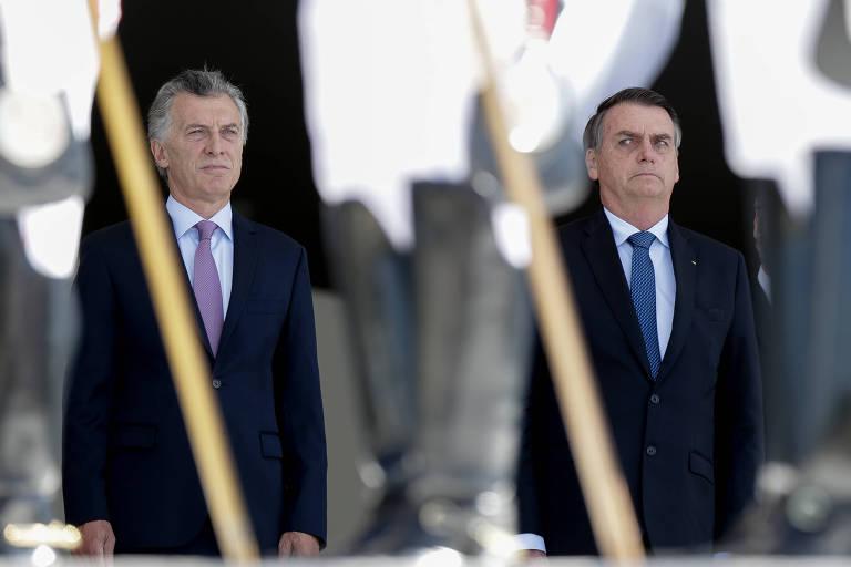O presidente Jair Bolsonaro recebe o presidente da Argentina Maurício Macri, em visita oficial ao Brasil, no Palácio do Planalto