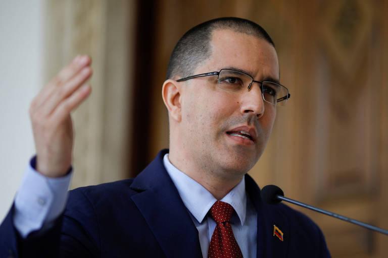 O chanceler venezuelano Jorge Arreaza em evento de Caracas