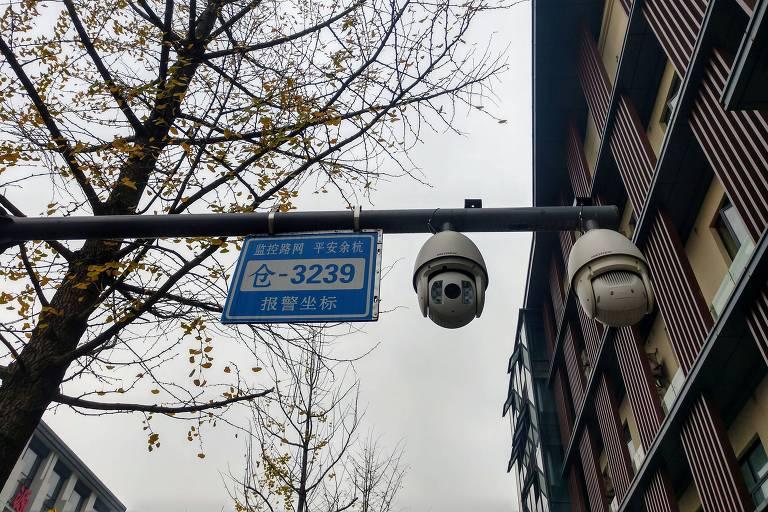 Câmeras nas ruas de Xangai, na China; governo pagou para deputados do PSL irem ao país conhecer a tecnologia