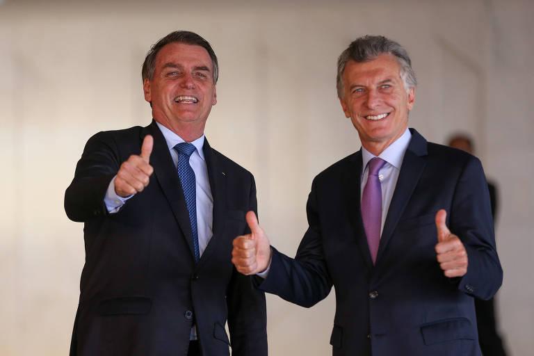 Os presidentes do Brasil, Jair Bolsonaro, e da Argentina, Mauricio Macri, durante o almoço no Palácio do Itamaraty