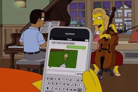 Cena de episódio dos 'Simpsons' em que Homer manda seu próprio meme para Lisa
