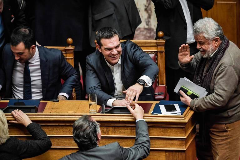 O premiê grego  Alexis Tsipras durante a votação no Parlamento em Atenas