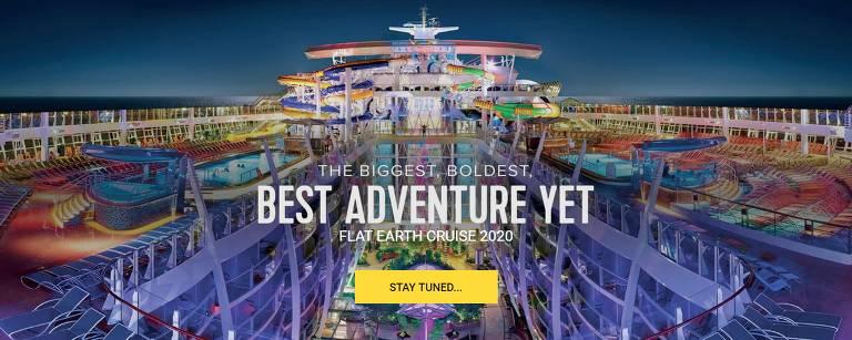 Imagem de navio no site de conferência de terraplanistas anuncia cruzeiro