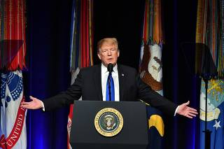 US President Donald Trump attends the Missile Defense Review Announcement at the Pentagon