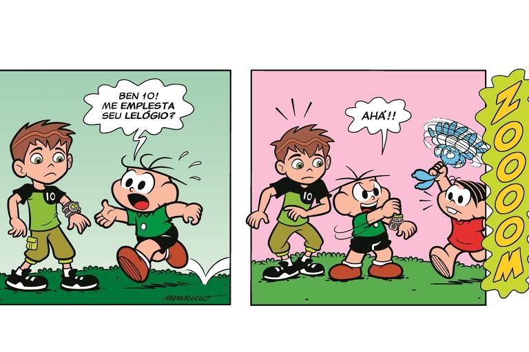 """Tirinha entre a Turma da Mônica e a o """"Ben 10"""""""
