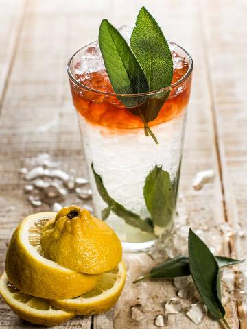 Sage Bitter (R$ 32), do Fortunato Bar, preparado com rum branco, limão-siciliano, sálvia, bitter e açúcar