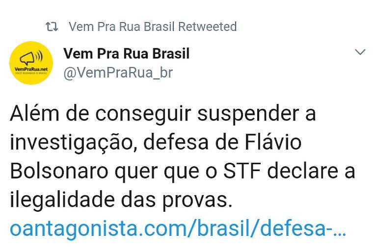 Movimento Vem pra Rua destacou pedido de ilegalidade de provas