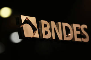A logo of BNDES is seen during a swearing-in ceremony of the bank's new president in Rio de Janeiro
