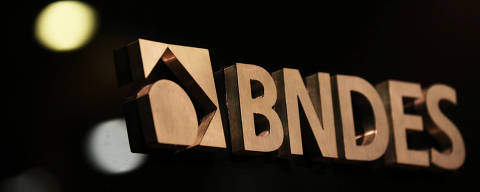 A logo of Brazilian National Development Bank (BNDES) is seen during a swearing-in ceremony of the bank's new president, in Rio de Janeiro, Brazil, January 8, 2019. REUTERS/Sergio Moraes ORG XMIT: GGGSMS11