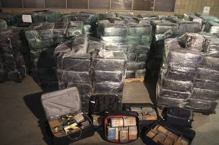 Seized drugs are shown in a highly sophisticated smuggling tunnel used to smuggle drugs between the U.S. and Mexico