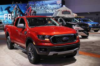 2019 Ford Ranger XLT Super Cab pickup truck is displayed at the North American International Auto Show in Detroit, Michigan