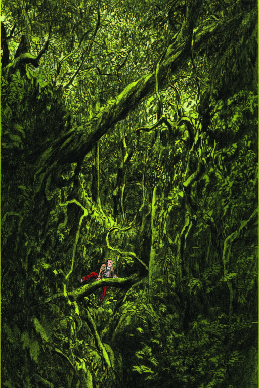 homem perdido na floresta
