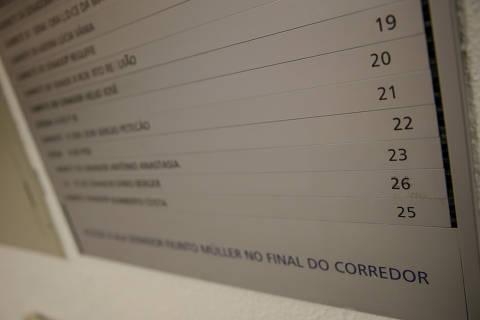 BRASILIA, DF,  BRASIL,  17-01-2019, 12h00: Senado federal muda numeração de gabinetes para evitar o número 24. Na ala Teotônio Vilela, no anexo II do senado, a numeração dos gabinetes pula do número 23 para o 25. A troca dos números deixou uma sutil marca na placa de orientação na entrada do corredor, onde é possível ver marcas de cola formando o número 24 com o número 26 por cima. O gabinete número 26, que pela lógica deveria ser o 24 é do senador Dário Berger (MDB-SC). (Foto: Pedro Ladeira/Folhapress, PODER) ***EXCLUSIVO*** ***ESPECIAL***