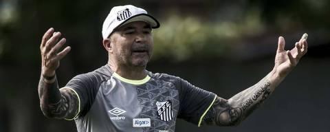 SANTOS,SP - O tecnico santista, Jorge Sampaoli em treino do Santos no CT Rei Pelé. (Foto:Ivan Storti/Santos FC) ***