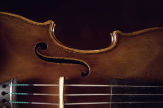 The ?Vesuvius? violin, made by Antonio Stradivari in 1727, in the Museum del Violino in Cremona, Italy.