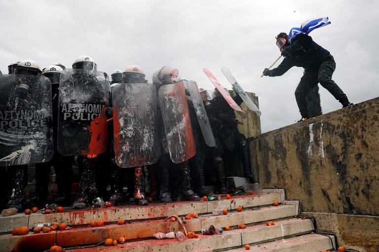 Protesto na Grécia contra Macedônia