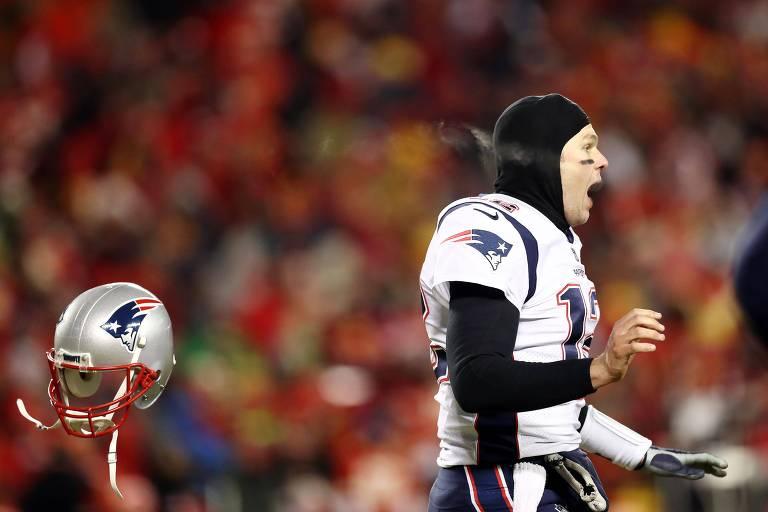 Tom Brady comemora vitória na final da conferência americana, contra o Kansas City Chiefs