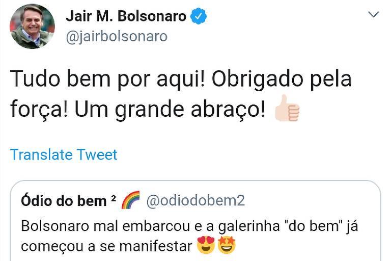 Bolsonaro compartilha comentário sobre sua viagem