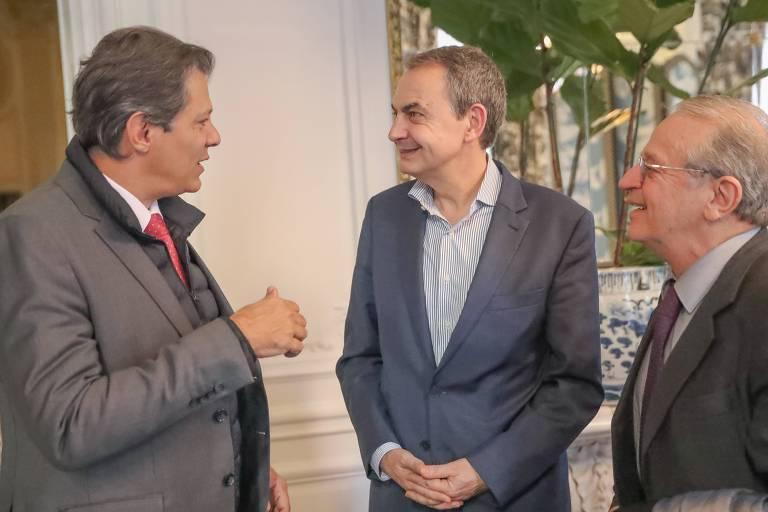 Em viagem pela Europa, Fernando Haddad e Tarso Genro se encontraram com ex-primeiro-ministro espanhol José Luis Zapatero
