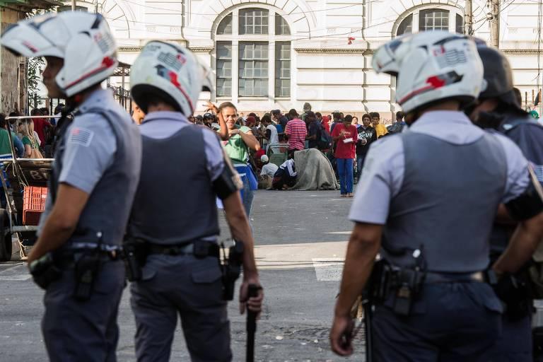 Policiais militares durante ação no centro paulistano