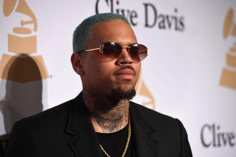 O rapper Chris Brown em evento pré-Grammy, em Los Angeles, em 2015