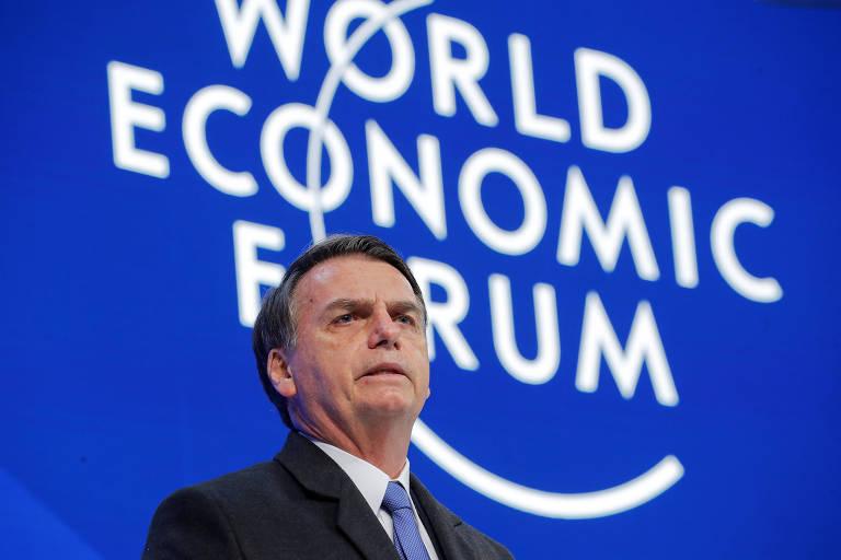 O presidente Jair Bolsonaro fala na sessão plenária do Fórum Econômico Mundial, em Davos